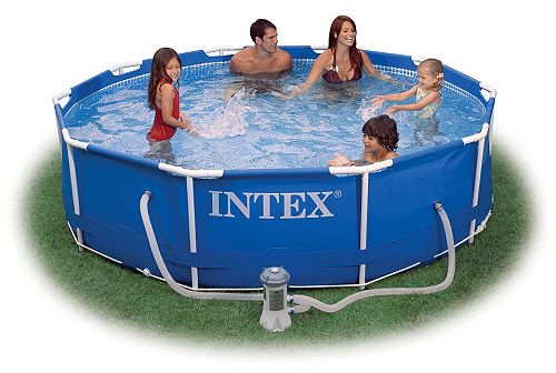 intex swimming pool metal frame 366x76cm pumpe 28212 gs. Black Bedroom Furniture Sets. Home Design Ideas