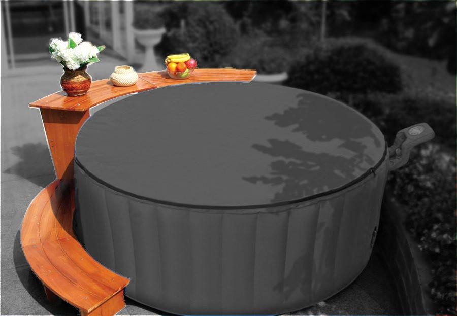 Whirlpool outdoor rund  exklusives Holzset für Outdoor Whirlpools + Bubble SPA