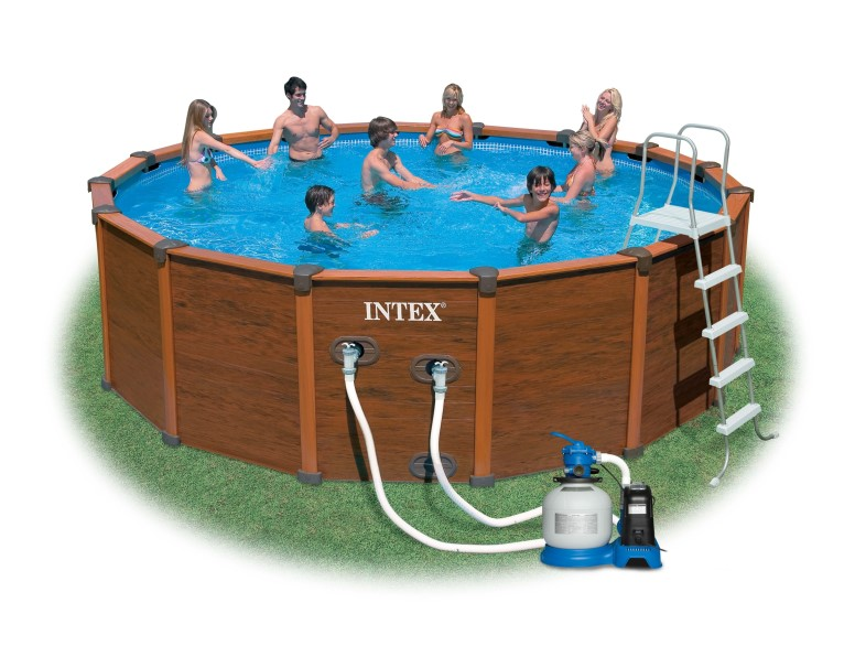 Poolfolie f r intex wood grain frame pool 569x135cm for Pool ersatzfolie