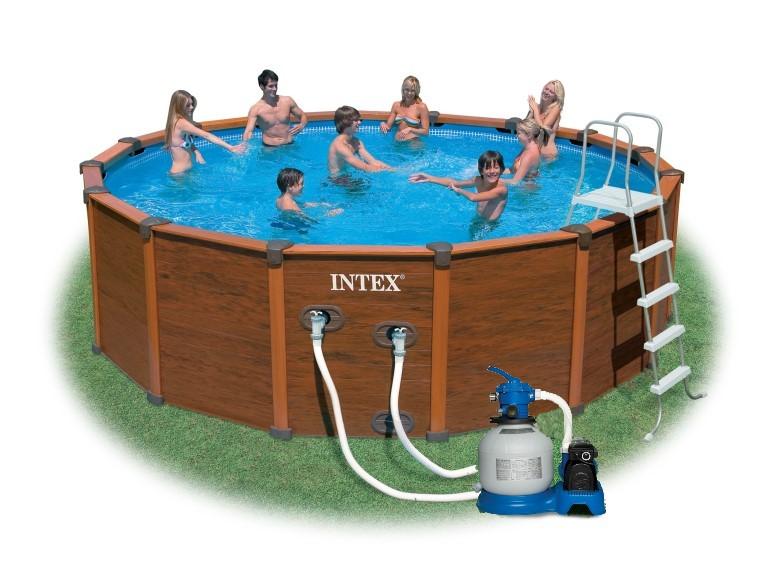 Poolfolie für Intex Wood-Grain / Graphite Panel Frame Pool 478x1