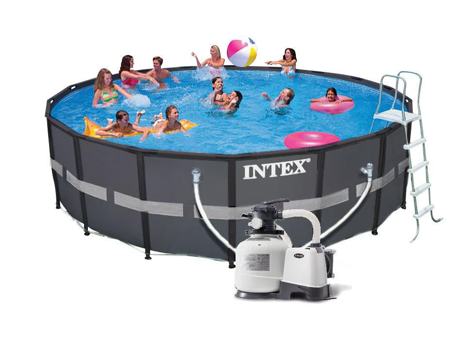 Intex ultra frame pool komplett set 549x132 eco 26332 for Komplett pool