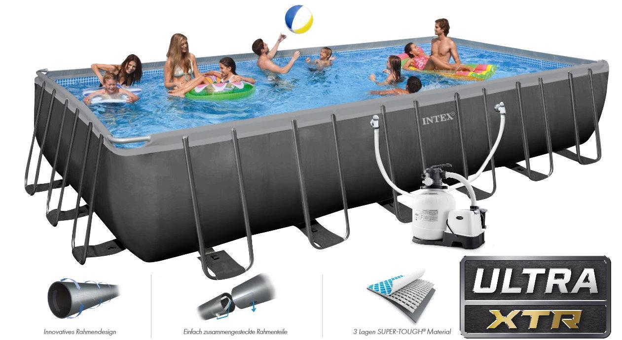 Intex swimming pool ultra frame 732x366x132 chlorinator for Pool 457x122 mit sandfilteranlage