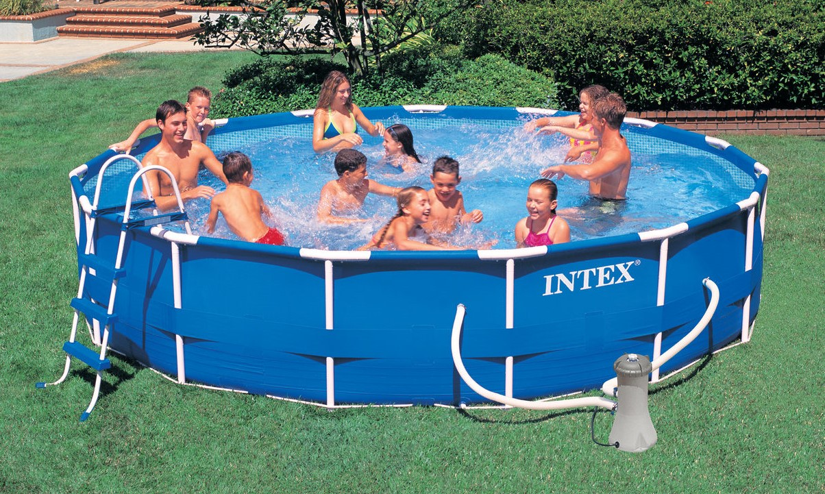 intex metal frame pool komplett set 457x84 eco 28228. Black Bedroom Furniture Sets. Home Design Ideas