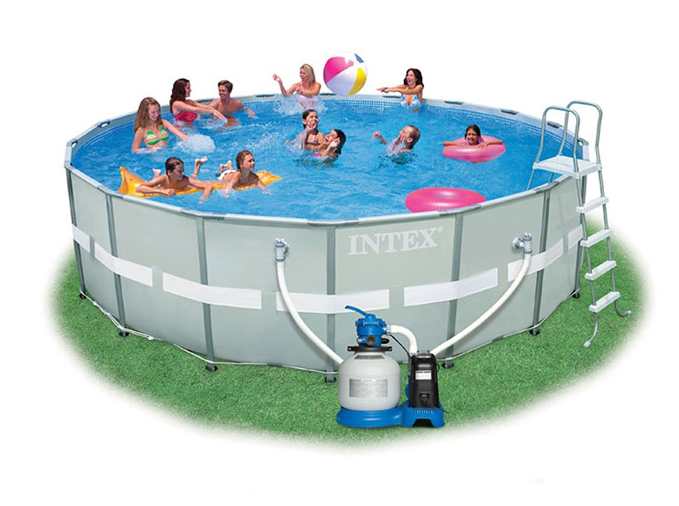 Intex ultra frame pool komplett set 549x132 chlorinator for Komplett pool