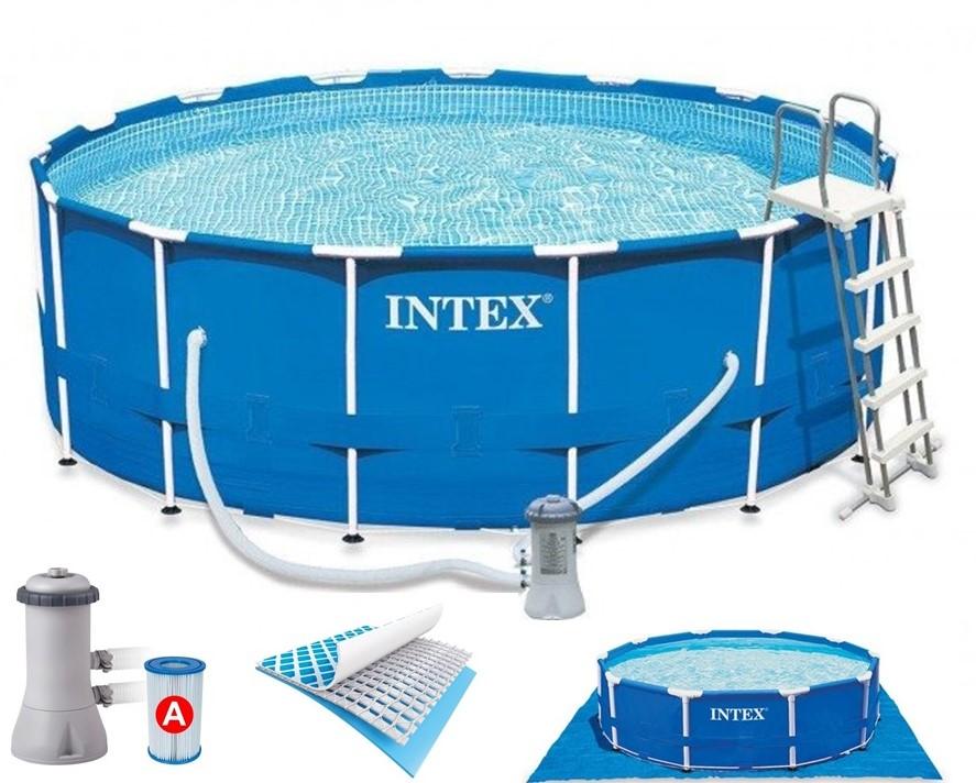 intex metal frame pool komplett set 457x122 eco set 28236 gs. Black Bedroom Furniture Sets. Home Design Ideas