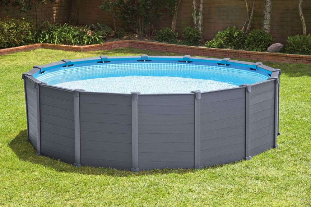 Intex graphite panel pool 478x124cm sandfilter 26382 for Pool 457x122 mit sandfilteranlage
